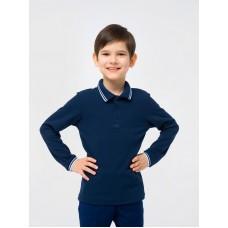 Поло с длинным рукавом для мальчиков Тм Смил, темно-синий цвет