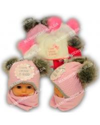 """Комплект """"I love"""", шапка на зимняя с шарфом для девочки"""